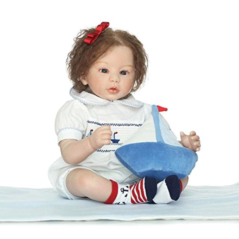 シリコンToddler Girl Doll Real Lifelike Reborn Babies Hand Rootedモヘアダミーfor Kids Playmateギフト、22インチ