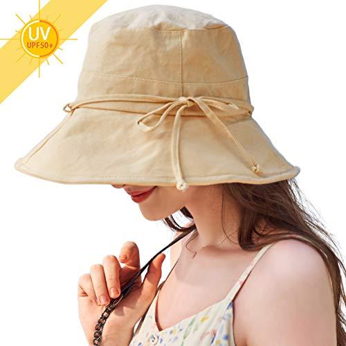 UVカット 帽子 レディース 紫外線対策 日焼け防止 熱中症予防夏季 可愛い 女優帽 小顔効果抜群 軽量 無地 取り外すあご紐 つば広 ハット日よけ 折りたたみ 自転車 海 旅行用 (#03.カーキ)