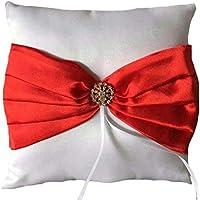 Kongqiabona White Satin Ring Pillow Comfortable Red Ribbon Bowknot 20 * 20cm Finger Ring Cushion Romantic Bridal Decorations