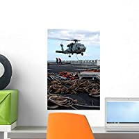 Hh-60h Seahawk Helicopter Prepares Wall Mural by Wallmonkeys Peel and Stick Graphic (18 in H x 12 in W) WM131816 [並行輸入品]