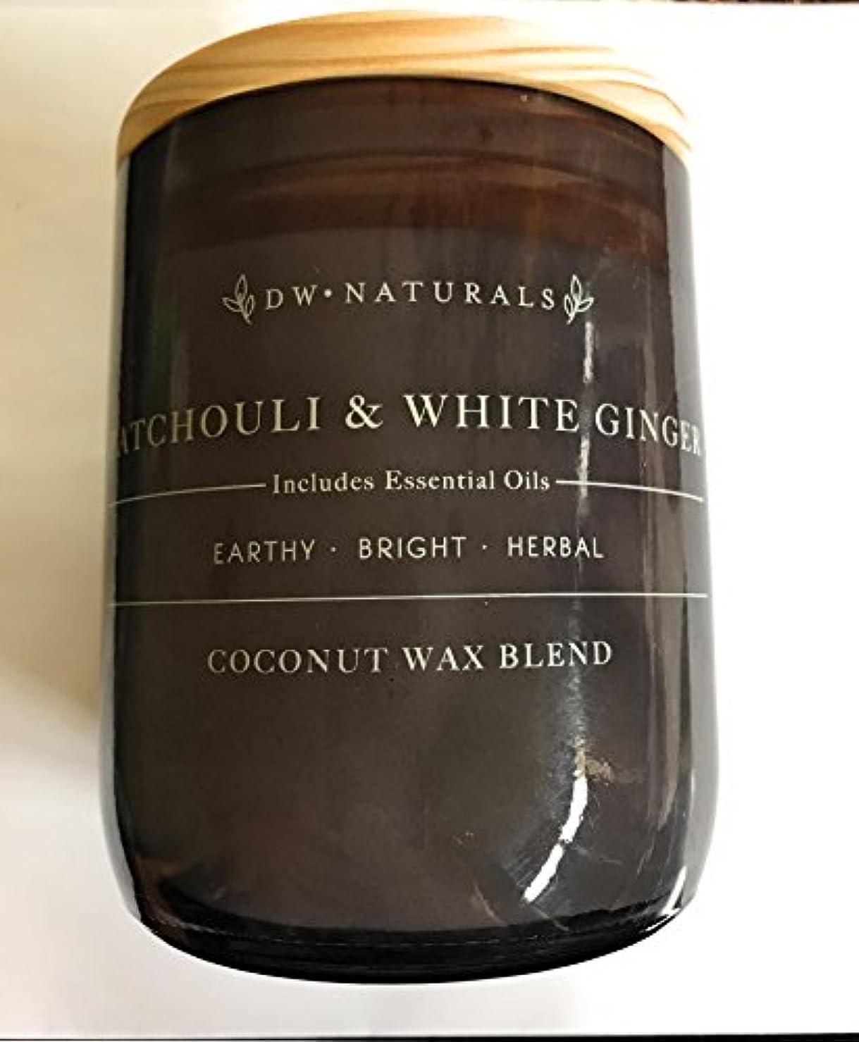 孤独な貪欲出席DW Naturalsパチュリ&ホワイトGinger CoconutワックスブレンドJar Candle 17.6 Oz