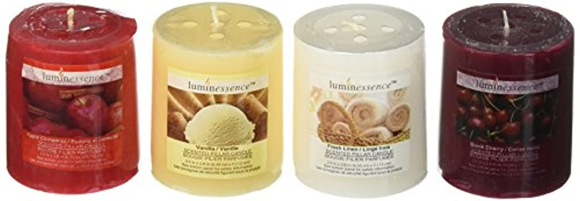 Luminessence(tm) Assorted Scented Pillar Candles, 4 Pillar Candles in Each Pack -Wonderful Aroma - Long Lasting...