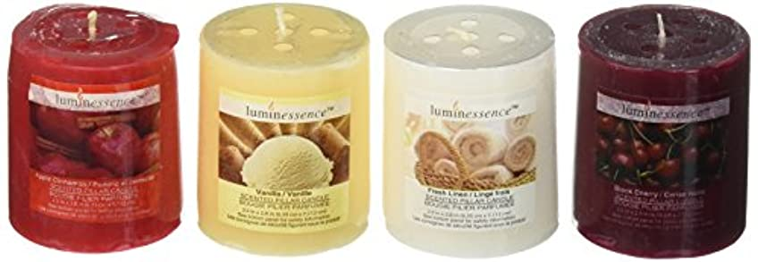 腫瘍手配するメアリアンジョーンズLuminessence(tm) Assorted Scented Pillar Candles, 4 Pillar Candles in Each Pack -Wonderful Aroma - Long Lasting - Inexpensive - Vanilla - Black Cherry - Apple Cinnamon - Fresh Linen, Soy Wax Candles
