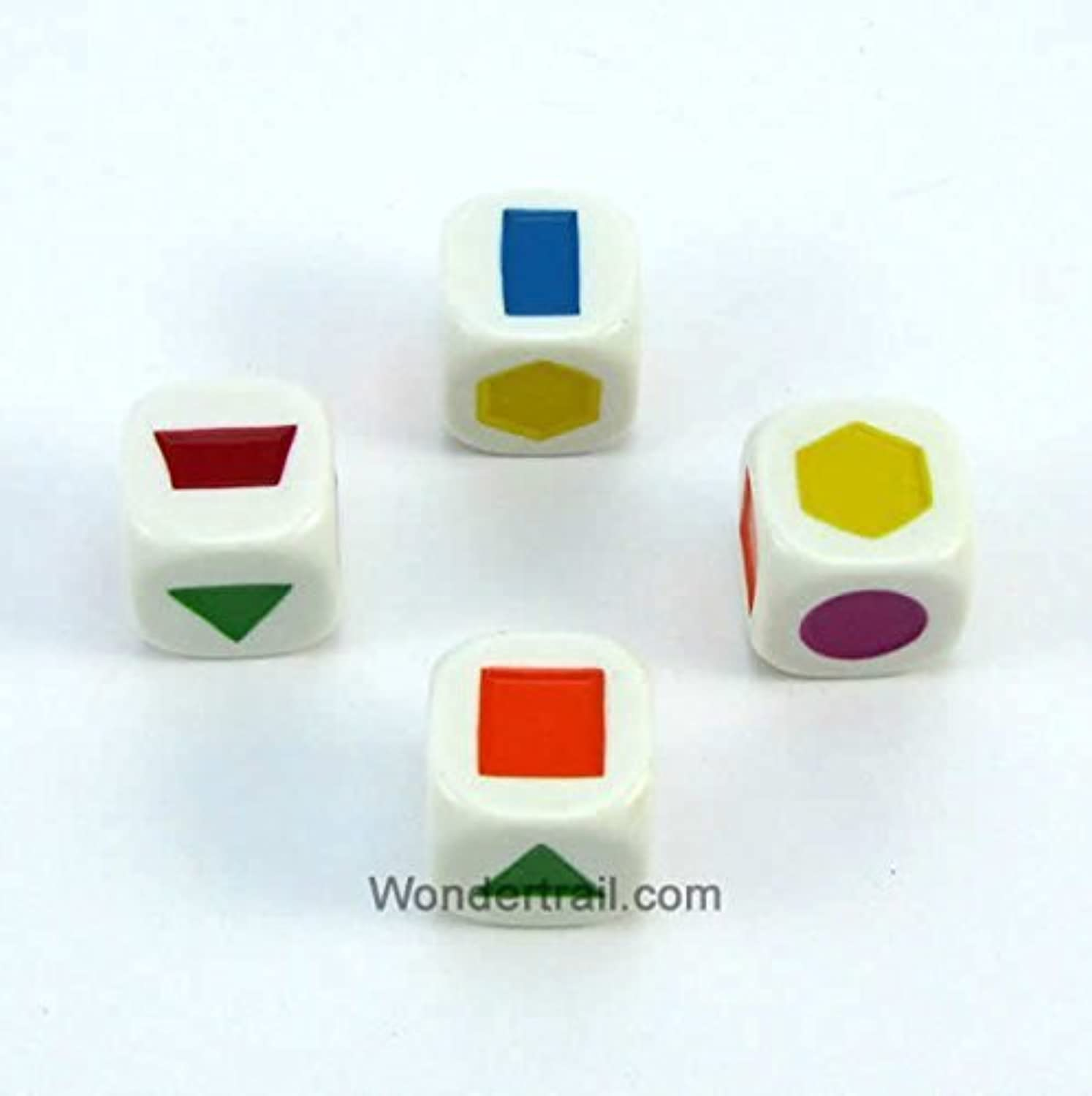 WKP13849E4 Shapes Dice D6 White Opaque with Different Color Shapes 20mm (25/32in) Set of 4 Dice Koplow Game