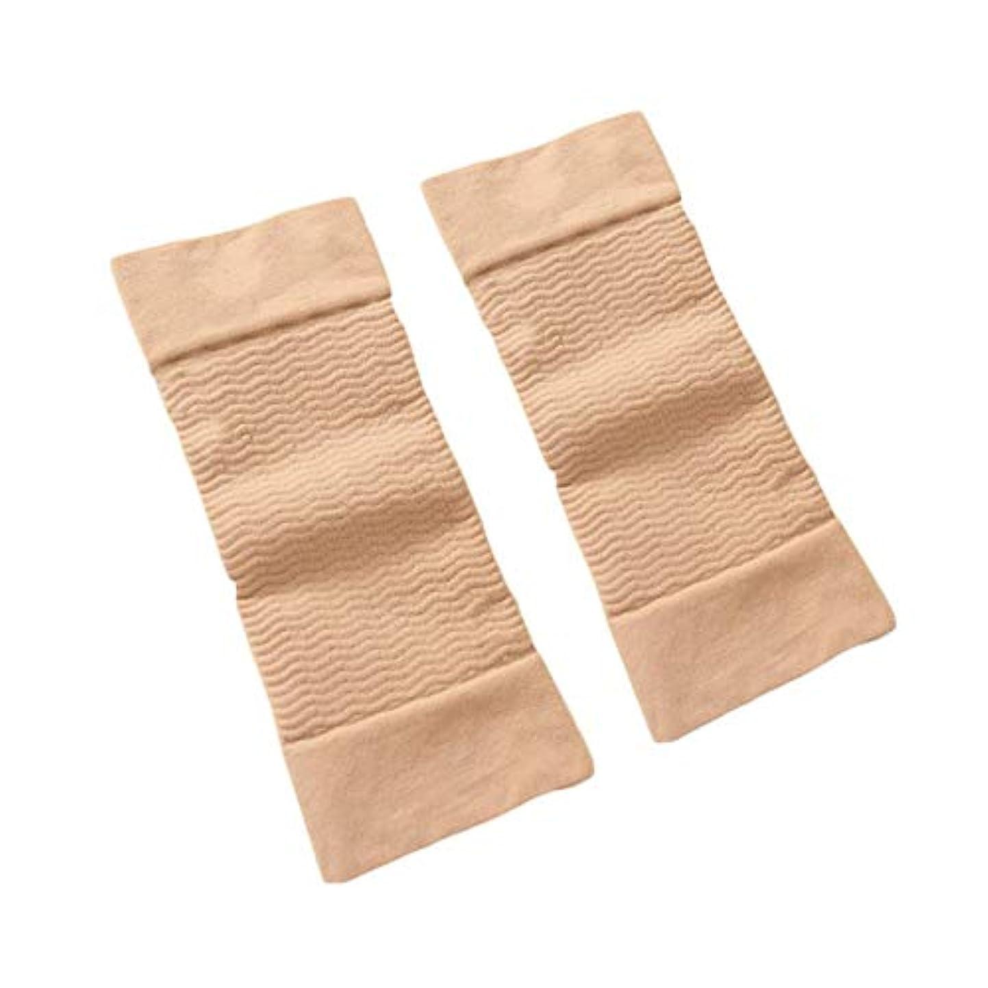 膨張する使役暗殺する1ペア420 D圧縮痩身アームスリーブワークアウトトーニングバーンセルライトシェイパー脂肪燃焼袖用女性 - 肌色