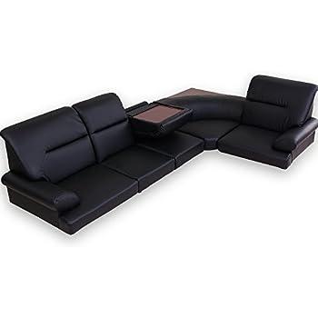 LOWYA (ロウヤ) ソファ ローソファ コーナーソファ こたつ ソファ 木製テーブル付き 3人掛け レザー ブラック おしゃれ 新生活