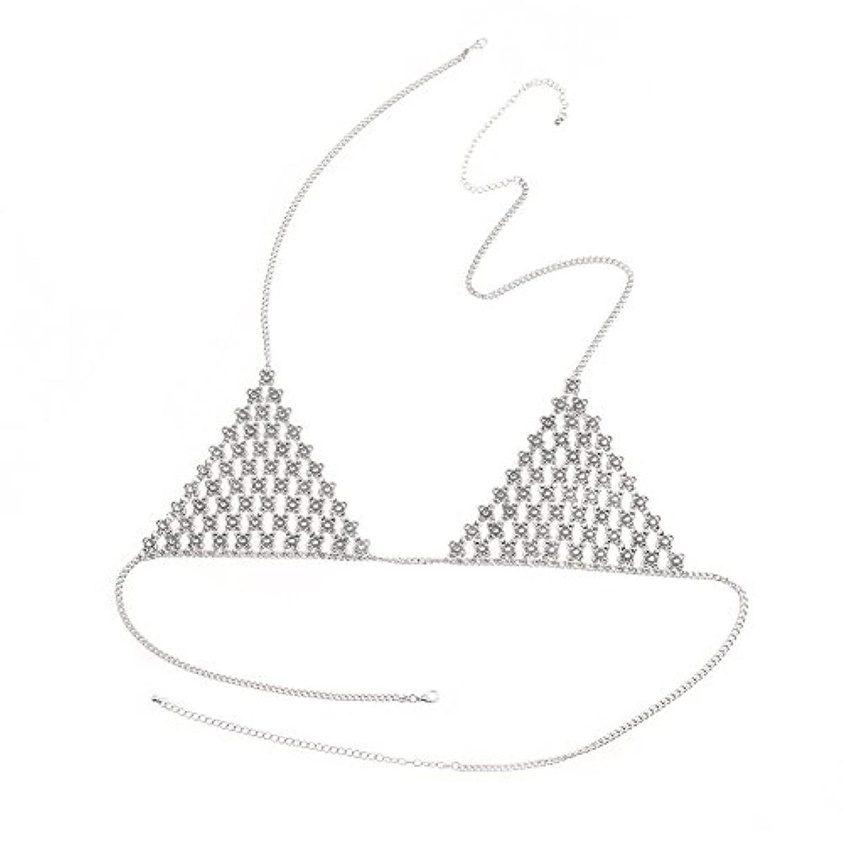 花束料理をする槍Shinewebレディースセクシークラブパーティーラインストーンブラボディネックレスチェーンビキニ