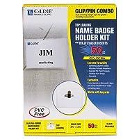 バッジホルダーキット、トップロード、2–1/ 4x 3–1/ 2、ホワイト、コンボクリップ/ピン、50/ボックス、として販売50各
