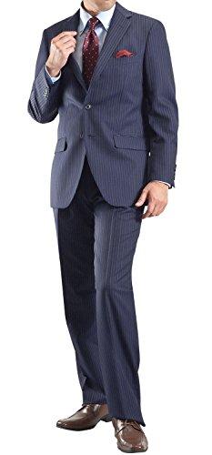 スーツ メンズ ビジネス ブリティッシュ 段返り 3ツボタンスーツ 洗える パンツウォッシャブル 3:ネイビーピンストライプ27E14-106-BE8