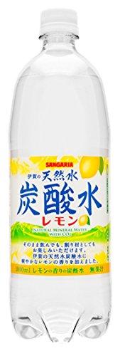 サンガリア 伊賀の天然水 炭酸水 レモン ペット 1Lx12本