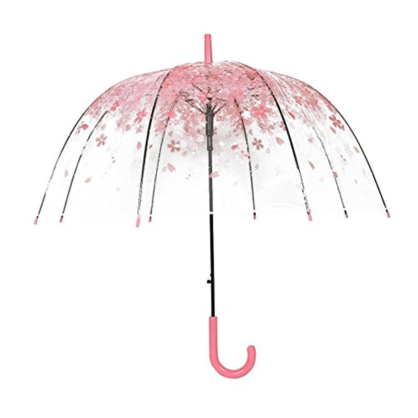 先生溶岩聡明傘 晴雨兼用傘 旅行の傘 写真撮影に適合 プレゼント 女の子を送るのに適合 桜花 透明 ドーム型 可愛い 長傘 軽量