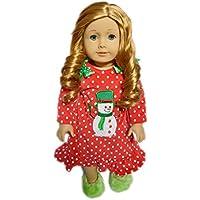 私のブルターニュの雪だるまNightgown with Slippers forアメリカンガール人形
