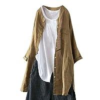 Lazayyii レデース ブラウス コート 長袖/ボタン ベルスリーブ 体型カバー Tシャツ トップス (S, カーキ)