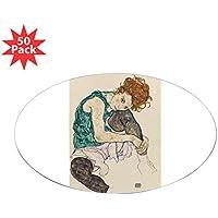 CafePress – 、1917 @ Gouache , W / C andブラッククレヨンon paperA – ステッカー(楕円形50 pk ) 084490377233332