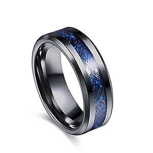 Varanda ドラゴンデザイン指輪 リング 龍紋 竜 メンズ ステンレス チタンリング チタン指輪 平打ち アクセサリー ブルー ブラック 25