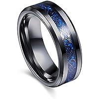 Varanda ドラゴンデザイン指輪 リング 龍紋 竜 メンズ ステンレス チタンリング チタン指輪 平打ち アクセサリー ブルー ブラック 16