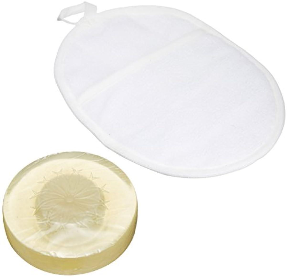 蒸発する形式合計和の華(wanoka)枠練り高級洗顔化粧石鹸&鹿の子ちりめんフェイスパフ