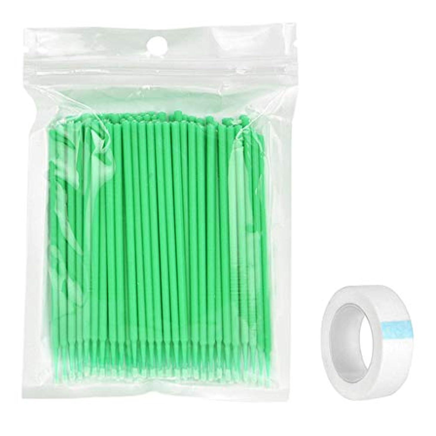 出身地マルコポーロベスト100個の使い捨て可能なまつげの拡張マイクロブラシスワブ&アンダーアイパッド - 緑