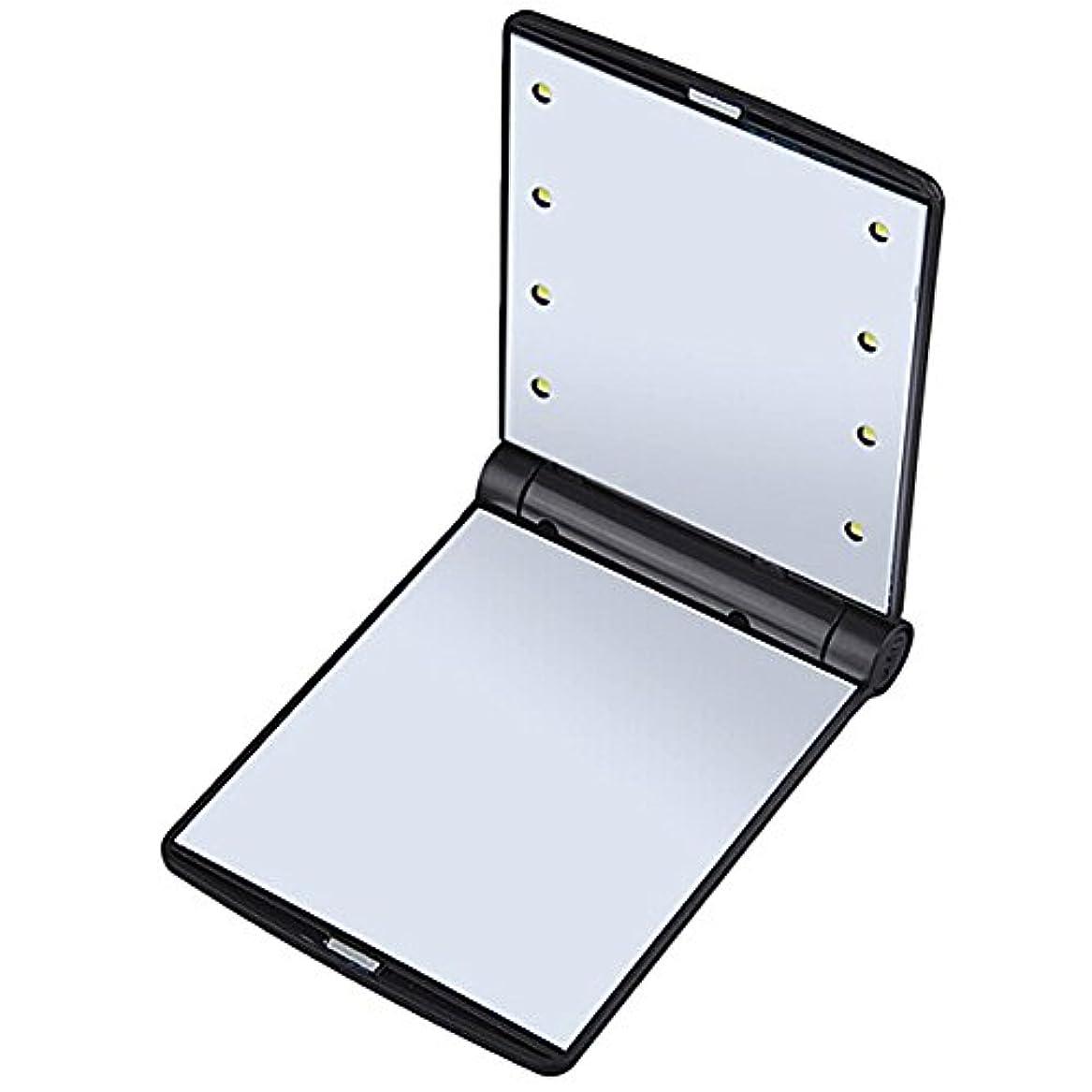 精巧な魅力的辛なB-PING 鏡 化粧鏡 女優ミラー 調光型二面鏡 拡大鏡付き 330度調節可能 コンパクトミラー スタンドミラー 折りたたみ式 二面鏡 LED ライト8個 無印タイプ 5色のオプション (ブラック)