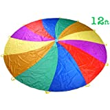 NARMAY Play Parachute for Kids Rotating Rainbow with 12 Handles - 12 Feet