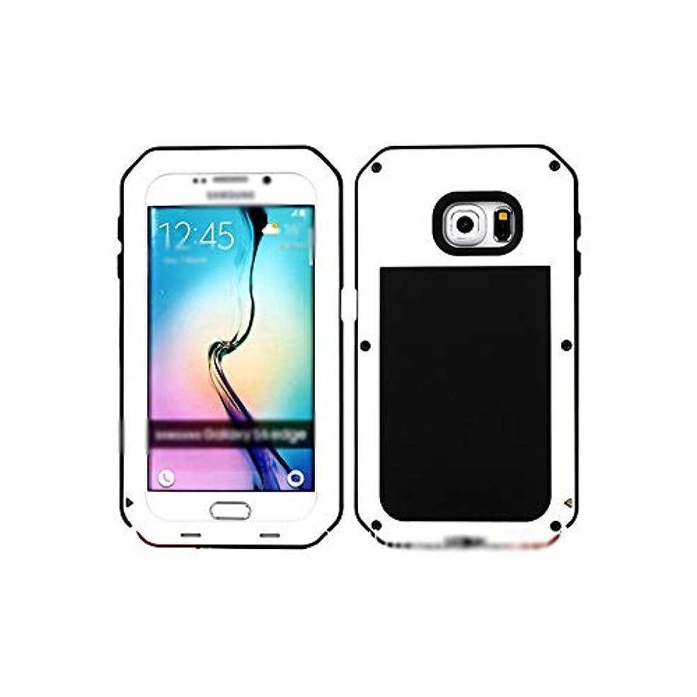 突進アクセスできない正確にTonglilili 電話箱、防水電話箱の携帯電話の箱のシリコーンフレームSamsung S6のための3反金属の反落下貝の電話箱、S6端 (Color : ホワイト, Edition : S6 Edge)