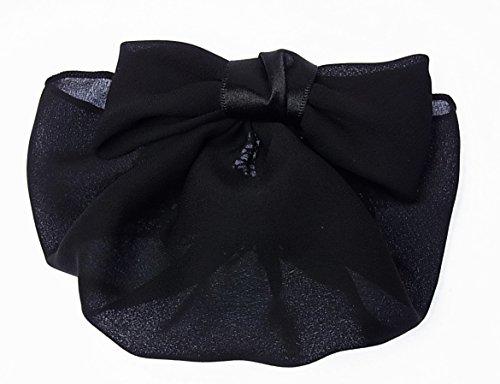 美人髪 リボン バレッタ (シニヨン ネット付)/カバー付 リボンが小さく マットな素材