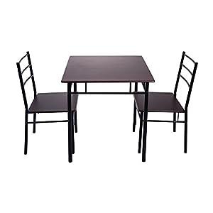 (オーエスジェー) OSJ ダイニングテーブル 3点セット ダイニングテーブルセット 食卓テーブルセット 2人用 食卓椅子 (ダークブラウン)