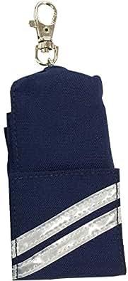プリンセスアリス ランドセルに最適!防犯対策 鍵カバー 反射材付 リール付カギケース キーケース (ネイビー)