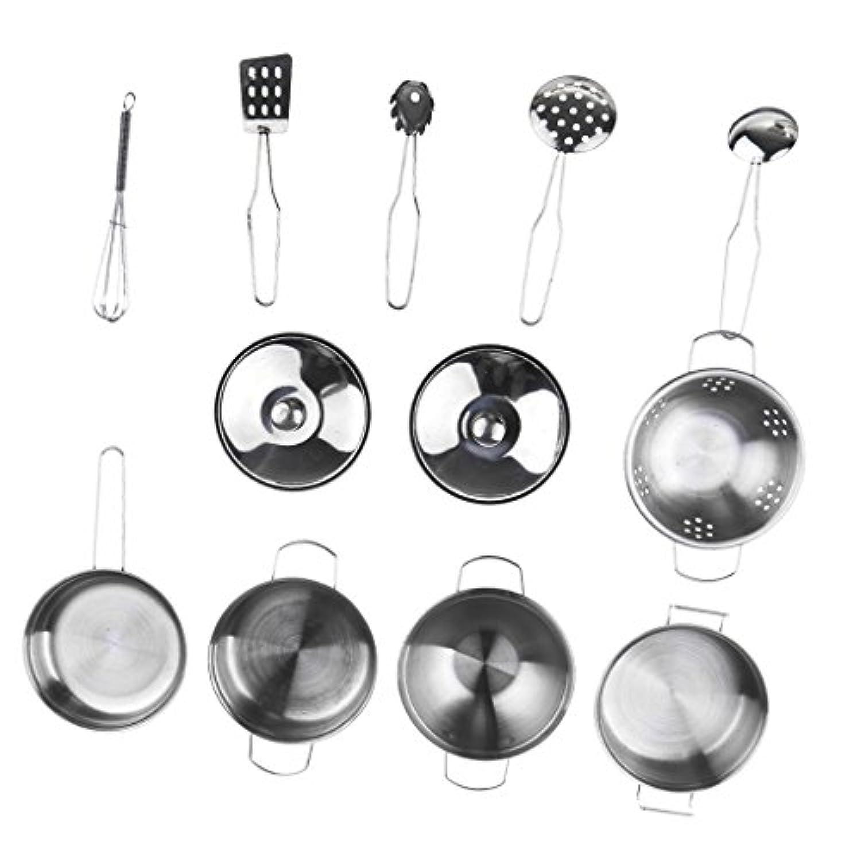 Perfk キッズステンレススチールキッチン調理器具おもちゃ ステンレス製 安全 高品質 12点セット ステン レススチール製
