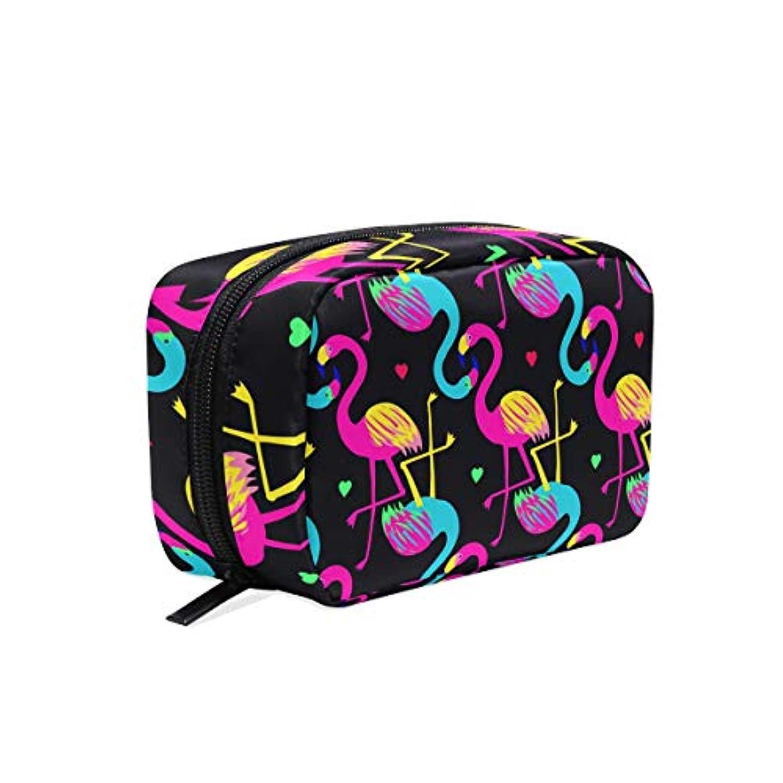 化粧ポーチ コスメポーチ 音楽 フラミンゴ かわいい レディース おしゃれ コンパクト 大容量 機能的 メイクポーチ 軽量 旅行 出張 通勤 高校生 AKINIO 収納バッグ