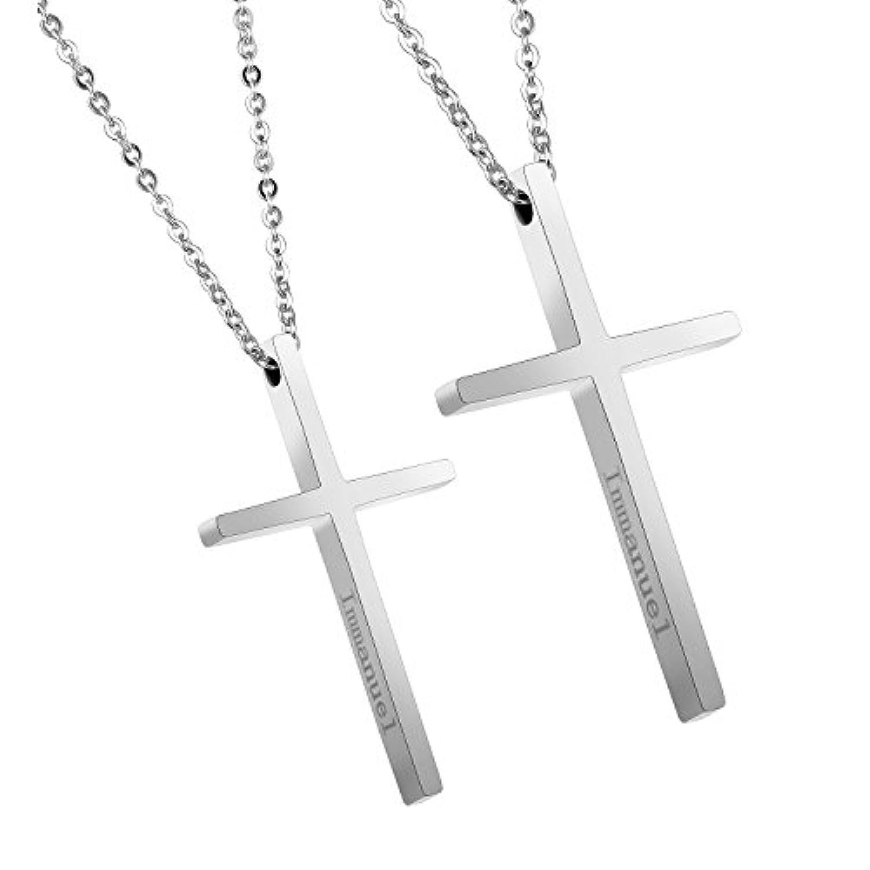 La plage (ラプラージュ) ペアネックレス クロス 十字架 アクセサリー 金 黒 ペア ジュエリー ギフトボックス付き (シルバー×シルバー)