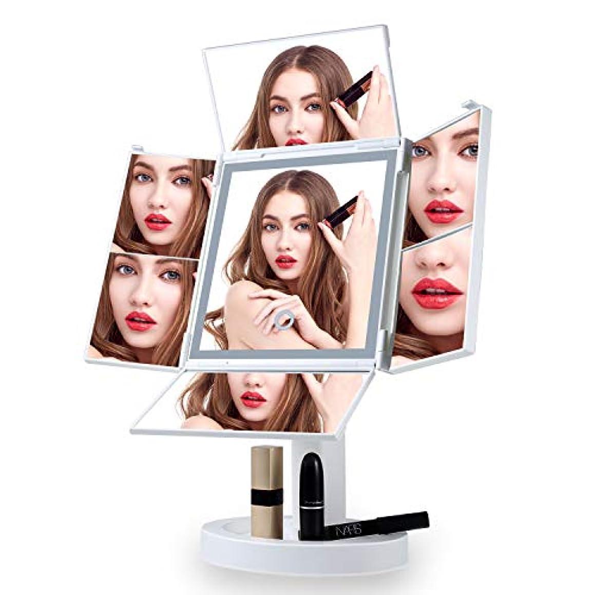 ライセンス申し立てられた凝縮する化粧鏡 女優ミラー 四面鏡 led鏡 卓上鏡 化粧ミラー スタンドミラー 折りたたみ式 ledライト付き 明るさ調整可能 2 x 3 x 5 x 7倍拡大鏡付360°回転 電池&USB 2WAY給電