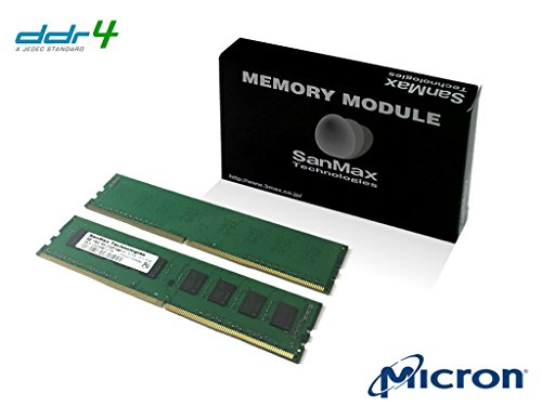 デスクトップ用メモリ Micron DRAM搭載 288pin DDR4-2400 CL17 16GB 8GB x 2枚   1.2volt JEDEC準拠 SMD4-U16G48M-24R-D