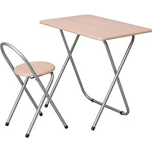 ナカバヤシ 折りたたみテーブル ナチュラル木目 デスク:W80×D50×H71cm、チェア:W36×D41×H67.5cm