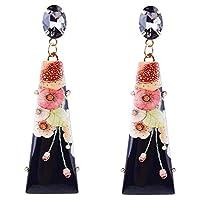 絶妙な流行の女性の女性のラインストーンは、花のドロップ合金のイヤリングイヤスタッドを印刷した (黒)
