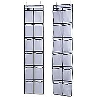 (White) - Misslo Over The Door Shoe Organiser 12 Large Mesh Pockets Hanging Narrow Closet Door, White, 2 Pack
