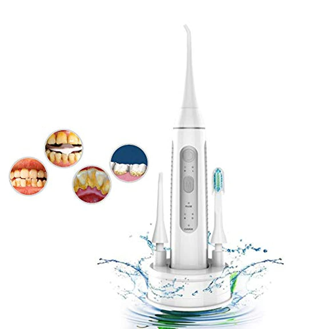 テクスチャー水族館有効超音波電動歯サーファー、2 in 1口腔ケア歯磨き粉機器ホームポータブルウォーターフロス歯のクリーニング機3モード大人と子供に適して,Gray