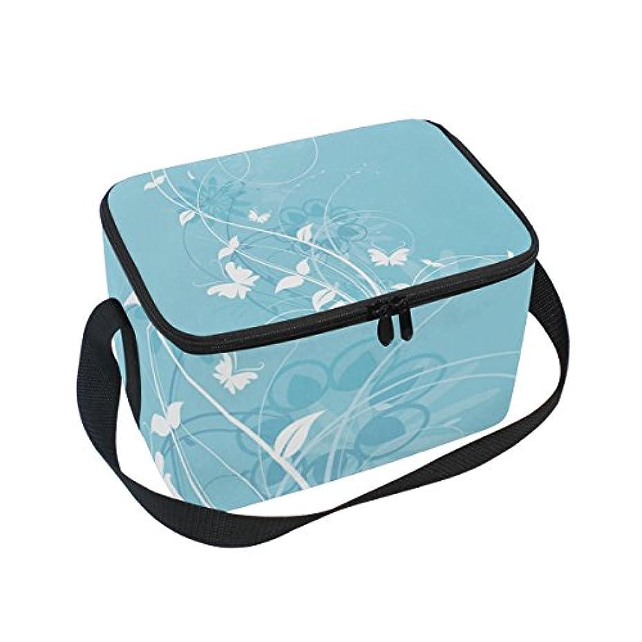 信頼分析二層クーラーバッグ クーラーボックス ソフトクーラ 冷蔵ボックス キャンプ用品 花と蝶柄 ブルー 保冷保温 大容量 肩掛け お花見 アウトドア