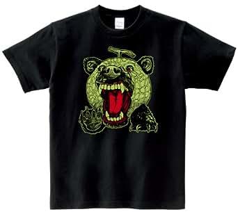 メロン熊 Tシャツ ブラック×グリーン LL