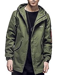 YFFUSHI ウインドブレーカー ジャケット メンズ ゆったり フード付き 無地 緑 黒 XS-4XL 個性 大きいサイズあり ブルゾン アウター カジュアル