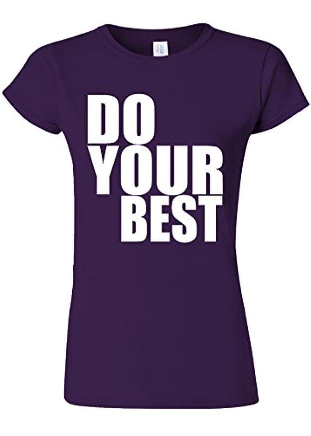 湿った絶妙触覚Do Your Best Quote Funny Novelty Purple Women T Shirt Top-L