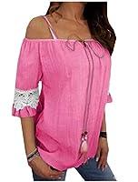 AngelSpace レディースワードショルダースリングストラップ付きプラスサイズ半袖レースTシャツ Pink L