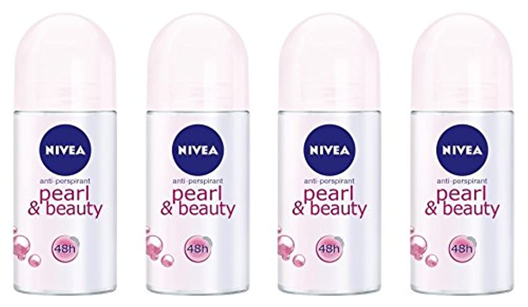文明こんにちはすることになっている(Pack of 4) Nivea Pearl & Beauty Anti-perspirant Deodorant Roll On for Women 4x50ml - (4パック) ニベアパールそしてビューティー制汗剤...