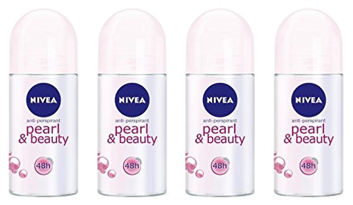 チャーター午後忘れられない(Pack of 4) Nivea Pearl & Beauty Anti-perspirant Deodorant Roll On for Women 4x50ml - (4パック) ニベアパールそしてビューティー制汗剤...