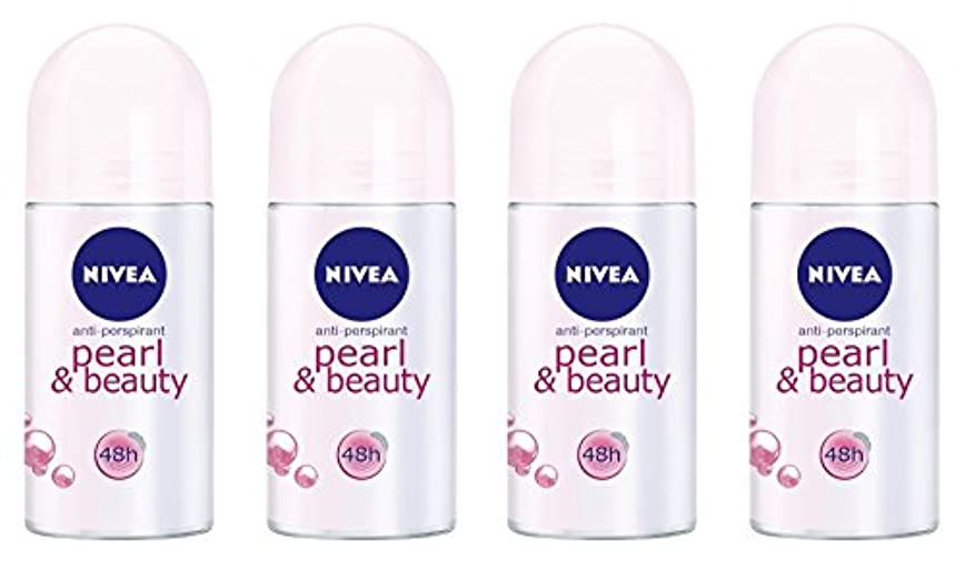 持続する石化する何故なの(Pack of 4) Nivea Pearl & Beauty Anti-perspirant Deodorant Roll On for Women 4x50ml - (4パック) ニベアパールそしてビューティー制汗剤...