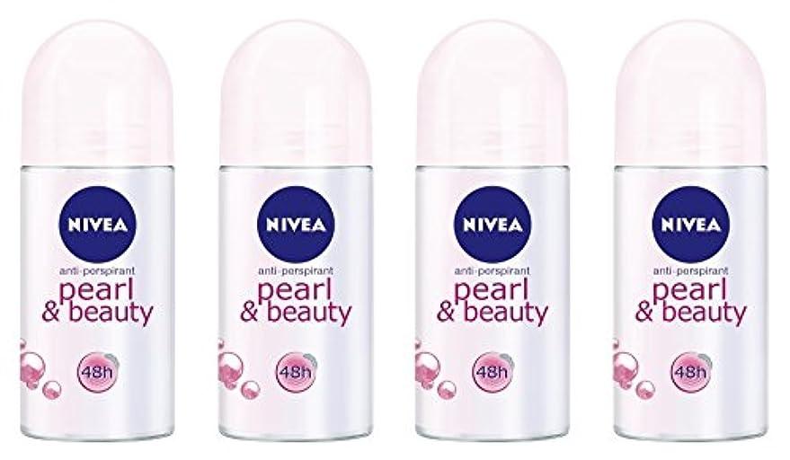 ベジタリアンターゲット形式(Pack of 4) Nivea Pearl & Beauty Anti-perspirant Deodorant Roll On for Women 4x50ml - (4パック) ニベアパールそしてビューティー制汗剤...