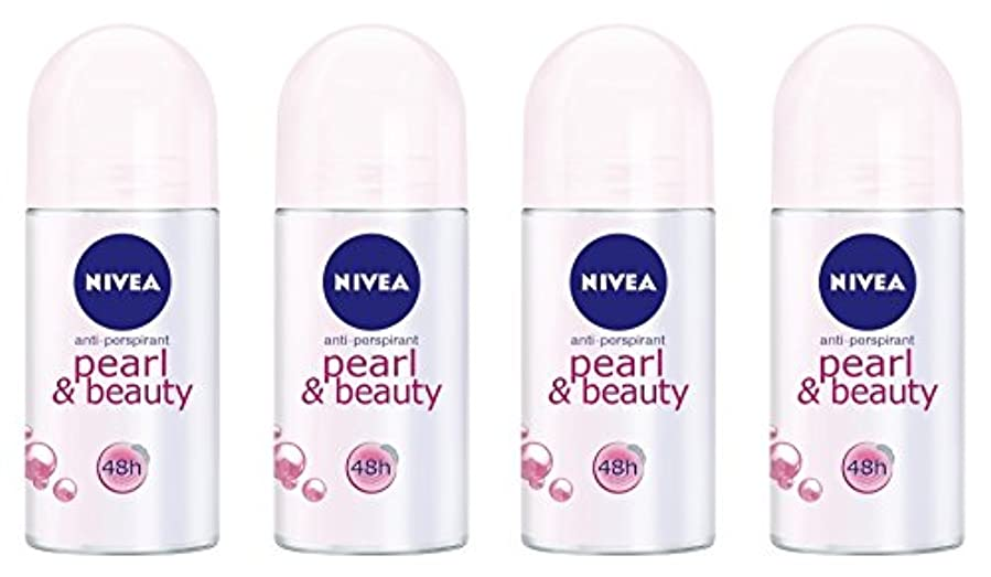 修士号緯度政府(Pack of 4) Nivea Pearl & Beauty Anti-perspirant Deodorant Roll On for Women 4x50ml - (4パック) ニベアパールそしてビューティー制汗剤デオドラントロールオン女性のための4x50ml