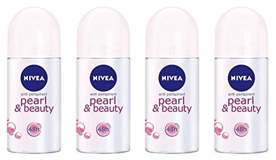 子供達リングレット思慮深い(Pack of 4) Nivea Pearl & Beauty Anti-perspirant Deodorant Roll On for Women 4x50ml - (4パック) ニベアパールそしてビューティー制汗剤デオドラントロールオン女性のための4x50ml