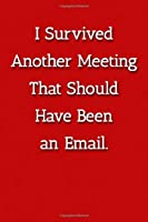 I Survived Another Meeting That Should Have Been an Email. Notebook: Lined Journal, 120 Pages, 6 x 9, Work Gag Gift, Red Matte Finish (I Survived Another Meeting That Should Have Been an Email. Journal)