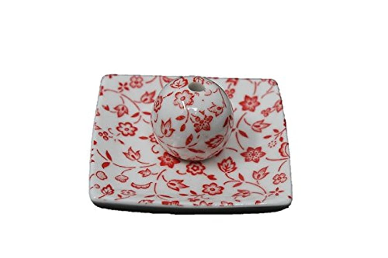チョコレート蒸発する摩擦赤小花 小角皿 日本製 美濃焼 お香立て お香たて 陶器 製造 直売品 レモングラス